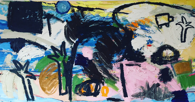 Surfing & the Moon. Oil on canvas -  65x126cm - January 2016.